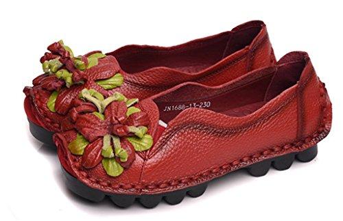 Hechos Las A De Zapatos Para Del Flor Mujeres Rojo Vendimia Los Newzcers Cuero La Planos Única Mano qS5I6