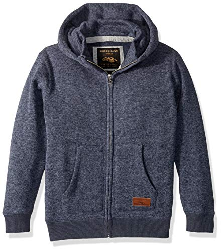 (Quiksilver Boys' Big Keller Zip Youth Polar Fleece Sweatshirt, Navy Blazer Heather, L/14)