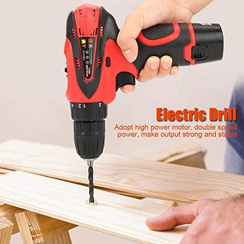 LIZANAN Impact Drill Electric Drill 12V Rechargeable Lithium Battery Handheld Cordless Electric Screwdriver Kit(UK plug) Hammer Drill