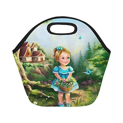 InterestPrint Fantasy Fairy Tale Girl Reusable Insulated Neoprene Lunch Tote Bag Cooler, Portable Lunchbox Handbag for Men Women Adult (Fairy Tale Castle Storage)