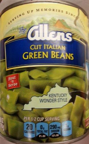 Allens Cut Italian Green Beans Kentucky Wonder Style 28 Ounce (Pack of 4)