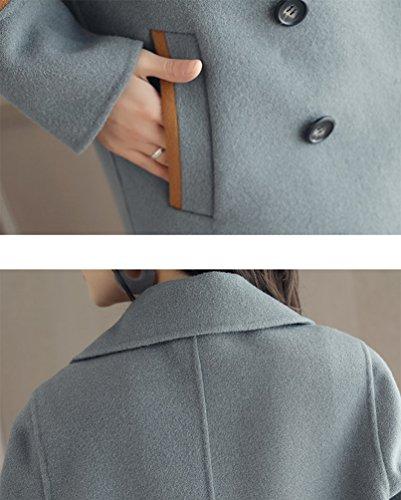 Femmes Loose Breasted Chaud Cyan Revers Manteau Élégant Long Automne Yuandian Parka Hiver Double Simple Casual Fendue Retour Doux Fit Pardessus BqBdS