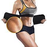 ASOONYUM Waist Trainer Trimmer Shaper for Women Men Weight Loss, Ab Belt, Stomach Wrap Sauna Belts, Helps Abdominal Muscle & Workout Sweat Enhancer, Back Lumbar Support, 3 Adjustable Hooks Black