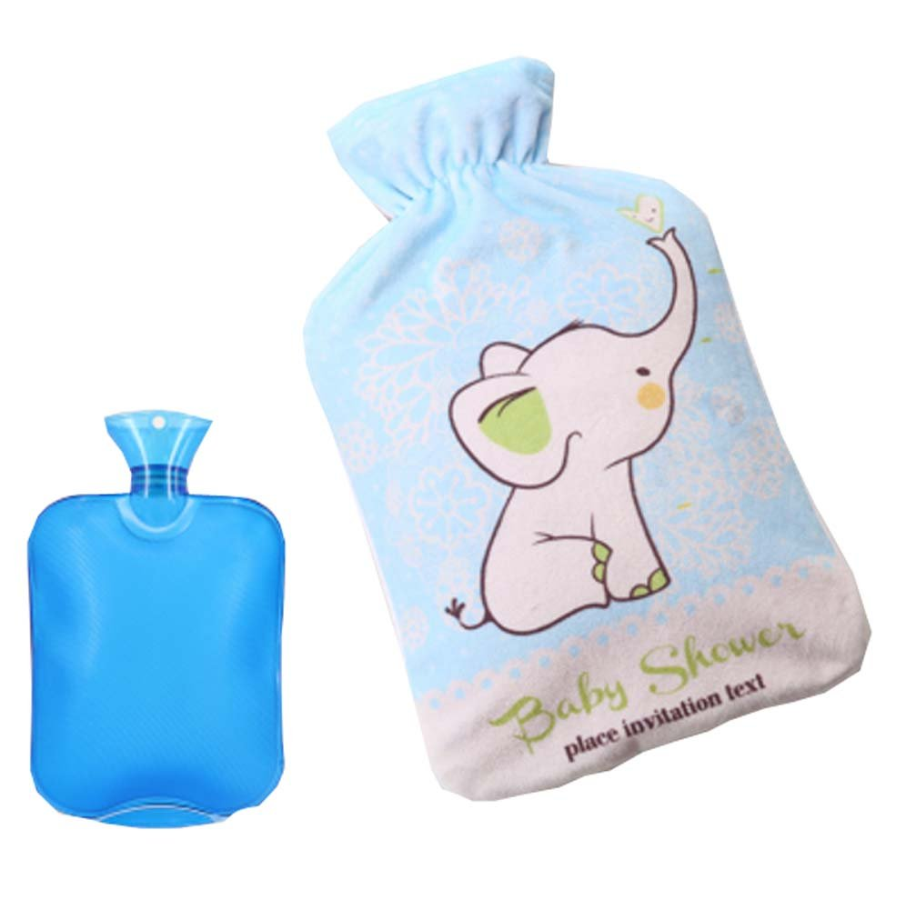 2L Colorful Hot Water Bottle + Lovely Elephant Style Fleece Cover (Random Bag)