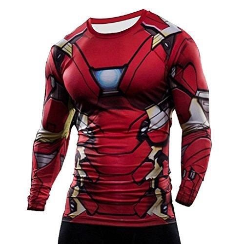 O Manga Gimnasio Short Ciclismo Para Corta Steel Interior America Man Captain Diseño Camiseta De Térmica Sleeve Ideal Compresión Born2ridetm Superhéroe Of EqvvzA