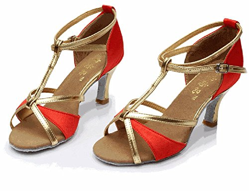 Rouge Chaussures Salon Fond Latine Moyens Sandale Danse Wymname talons Résistant Mou L'usure À Womens De 6qxg5