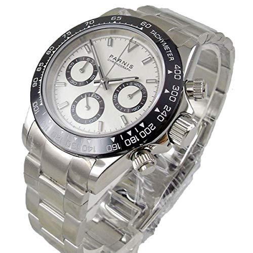 WHATSWATCH Solid 39mm PARNIS Quartz Men's Watch Full Chronograph White dial Luminous Sapphire Glass Black Bezel Stop Watch Men
