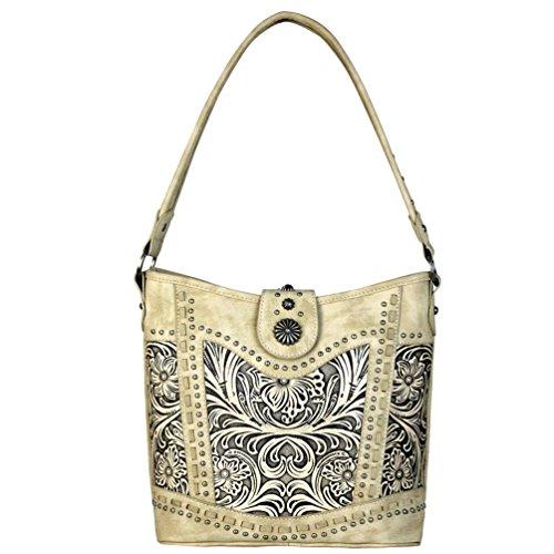 Tooled Trinity Collection Hobo Beige Handbag Leather Ranch f5qOx5p
