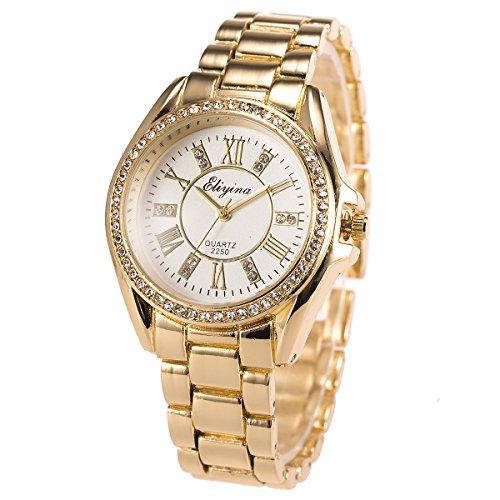 Lady Women Wrist Watch Quartz SIBOSUN Luxury Gold Stainless Steel Band Bracelet Crystal Roman Numerals
