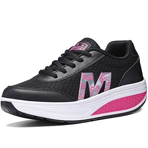 9c359c5affdb Solshine Damen Fashion Plateau Schnürer Sneakers mit Keilabsatz WALKMAXX  Schuhe Fitnessschuhe Schwarz 2
