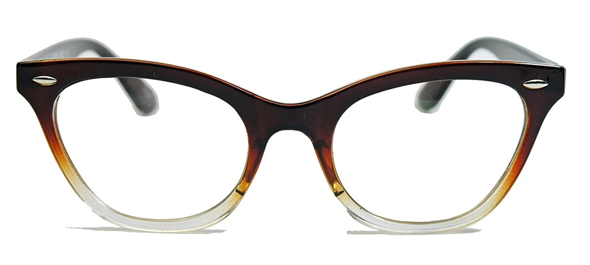 50er Jahre Damen Brille Cat Eye Nerdbrille Katzenaugen Hornbrille clear lens Farbverlauf (Cognac Ombre) BB N