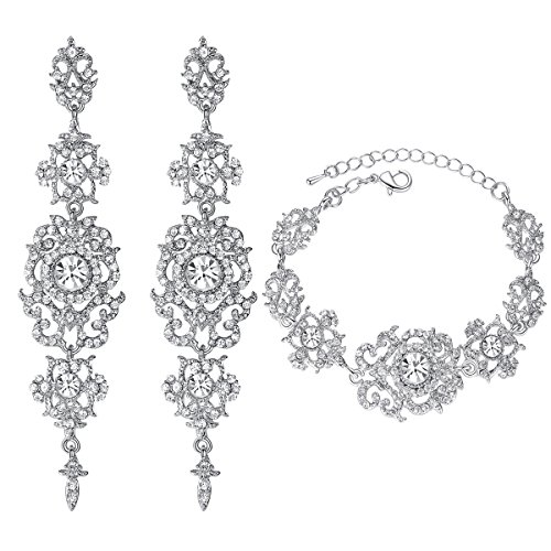 (mecresh Silver Bridal Long Earring and Tennis Bracelet Austrian Crystal Jewelry)