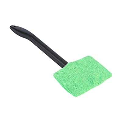 1pc Microfiber Car Window Cleaner Long Handle Car Washable Car Brush Window Windshield Wiper Cleaner Car Cleaning Tool (Green): Automotive