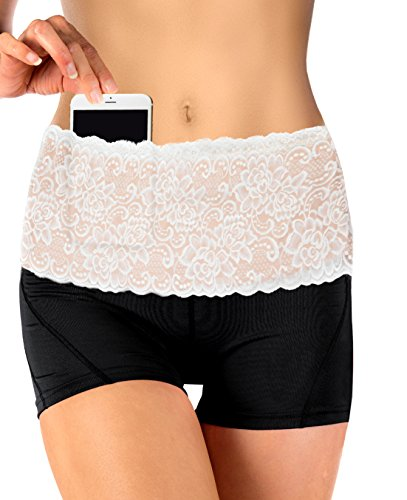 Stashbandz Travel Money Belt & Fanny Pack with Silicone Grip Made of Pretty Lace Hip Travel Wallet, Mini Purse or Running Belt with 4 Wide Pockets Fits All Cell Phones