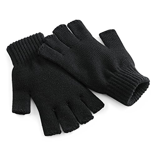 Beechfield Unisex Plain Basic Fingerless Winter Gloves (S/M) (Black)