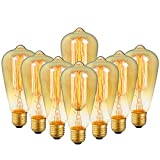 8-Pack Edison Bulb Antique Vintage Style Light Bulbs Dimmable Amber Warm 60W E26 Base for Wall Sconce Chandelier Retro Fixture by LUXON