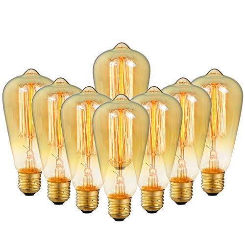 (8-Pack Edison Bulb Antique Vintage Style Light Bulbs Dimmable Amber Warm 60W E26 Base for Wall Sconce Chandelier Retro Fixture by LUXON)
