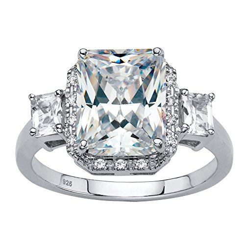 Platinum over Sterling Silver Emerald Cut Simulated White Sapphire Halo Engagement Ring Size 8