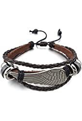 Men's Alloy Genuine Leather Bracelet Bangle Brown Black Angel Wing Tribal (with Gift Bag)
