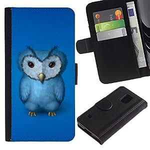 A-type (El búho azul) Colorida Impresión Funda Cuero Monedero Caja Bolsa Cubierta Caja Piel Card Slots Para Samsung Galaxy S5 V SM-G900