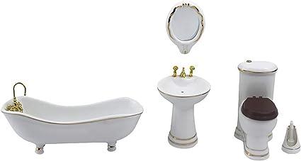 5 PCS Hamamelidaceae Ceramic Bathroom for Miniature Dollhouse