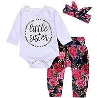 3Pcs Cotton Newborn Baby Girls Tops + Flower Pants + Headband Clothes Outfits Set