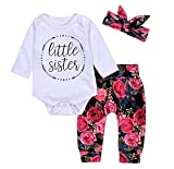 3Pcs Cotton Newborn Baby Girls Tops + Flower Pants + Headband Clothes Outfits Set (0-6M, White)