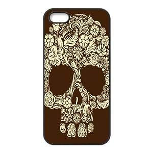 JFLIFE Artsy Skull Phone Case for iphone5s Black Shell Phone [Pattern-1]