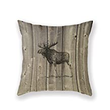 Customized Standard New Arrival Pillowcase Cabin Decor Moose Decorative Wilderness Rustic Throw Pillow 18 X 18 Square Cotton Linen Pillowcase Cover Cushion