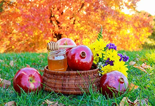 (Leyiyi 8x6ft Photography Background Rosh Hashana Backdrop Happy New Year Jewish Fresh Fruit Shana Tova Apples Honey Shofar Pomegranate Traditional Festival Wild Photo Portrait Vinyl Studio Video Prop)