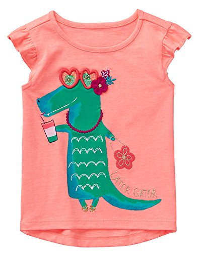2t Girl Gymboree - Gymboree Girls' Toddler Short Sleeve Graphic Tee, Bright Coral, 2T