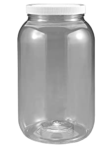 1 gallon plastic jar, wide mouth, clear, with lined fresh seal lid, shatter-proof container storage pet 4 quarts 128 ounce