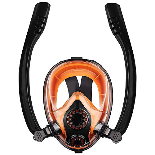 Chriffer Full Face Snorkel Mask 2019 with FLOWTECH Double Tube Advanced Breathing System Panoramic View Anti-Fog Anti-Leak Dry Snorkeling Set with Detachable Camera Mount for Adults, Black Orange ()