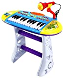 Velocity Toys Portable Fun Piano Children's Musical Instrument Toy Keyboard Playset, 24 Key Piano w/ Microphone, Stool, Records and Playbacks Music