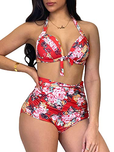- Yacooh Womens High Waisted Floral Bikini Retro Triangle Halter Bathing Suit Sets Backless Two Piece Push up Swimsuit
