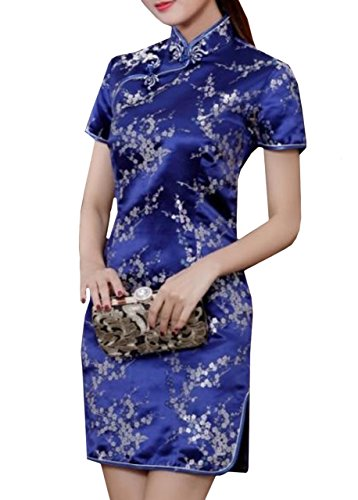 Lapiness Women's Chinese Dress Floral Mini Evening Party Formal Dresses Stand Collar (Dark Blue, S) (Dress Silk Chinese Brocade)
