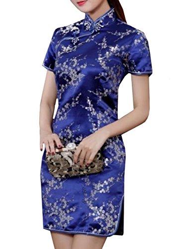 (Lapiness Women's Mini Chinese Dress Cheongsam Floral Sexy Evening Party (Dark Blue, XL))