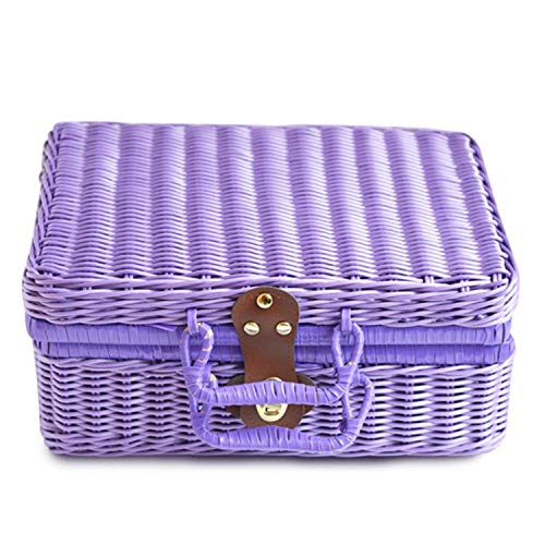 (Little-Hope Travel Picnic Basket Handmade Wicker Storage Case Vintage Suitcase Props Box Weave Bamboo Boxes Outdoor Rattan Organizer,Purple,26 X 16 X 10 cm)