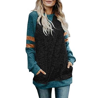 Anbech Women Color Block Striped Raglan Long Sleeve Blouse Pocket Splicing Fashion Shirts: Clothing