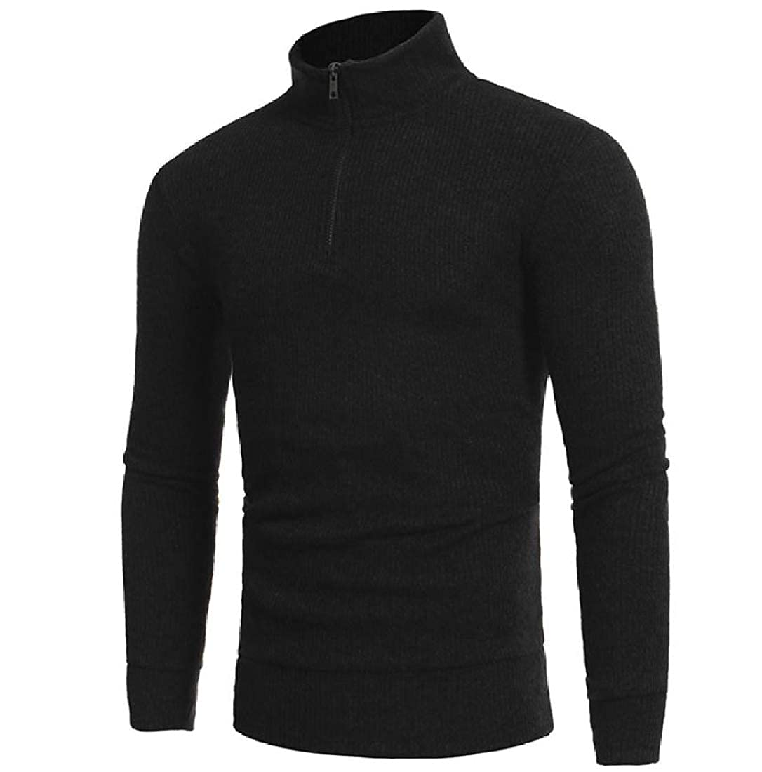 Mens Zip Top Pure Color High Neck Warm Pullover Sweaters