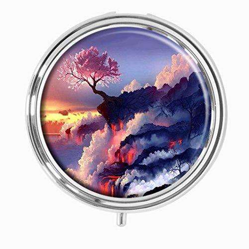 (Youroom Lava Cherry Blossom Custom HOT Sales Stainless Steel Round Pill Box Medicine Vitamin Organizer Holder Decorative box)