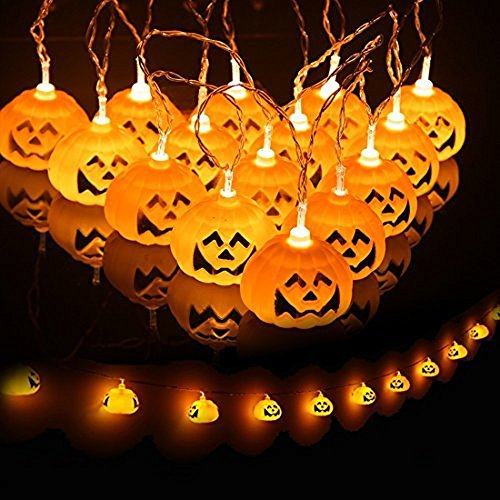 Halloween Pumpkin String Lights, Jack-O-Lantern Pumpkin Lights Battery Powered LED Fairy String Lights 3D Pumpkin Lantern Lights String - 11feet 16 LED Warm White Halloween Decoration Lights