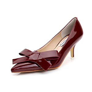 ADXIBEI Women's High Heels Party Stiletto Heel Court Shoes Burgundy 41