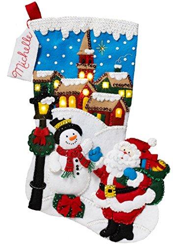 stmas Stocking Felt Appliqué Kit, 86818 Christmas Village ()