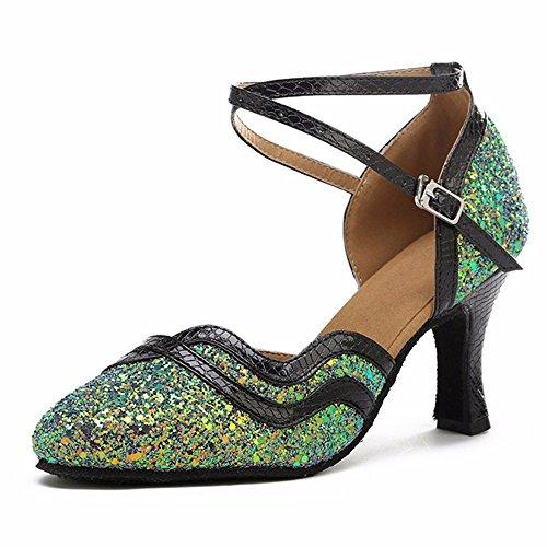 Zapatos Verde Baile fondo de Elegante lentejuelas de Sandalias Masocking danza 5cm moderna Mujer blando BqPw5x1