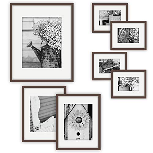 Gallery Perfect 7 Piece Walnut Photo Frame Gallery Wall Kit with Decorative Art Prints & Hanging Template (Renewed)