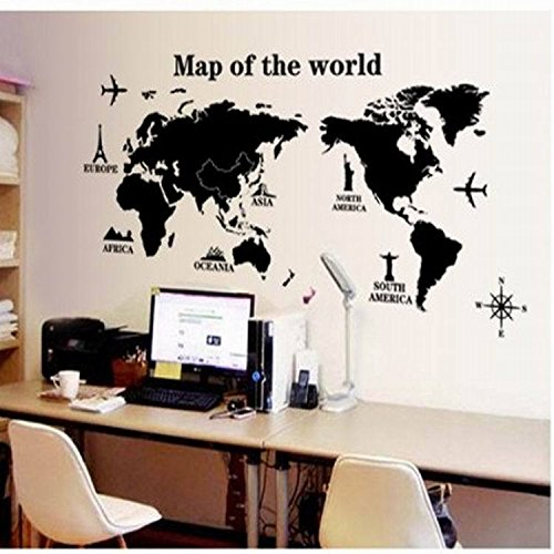 Map of the world home decorating ideas DIY removable wall stickers Christmas Halloween decorations-YU&XIN ()