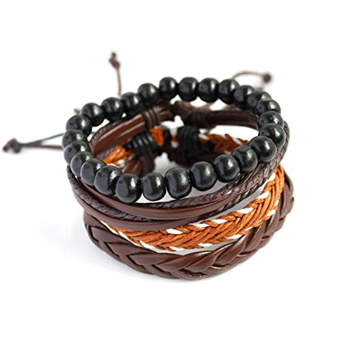 Willsa Fashion Women Men Multilayer Handmade Wristband PU Leather Bracelet Bangle (A)