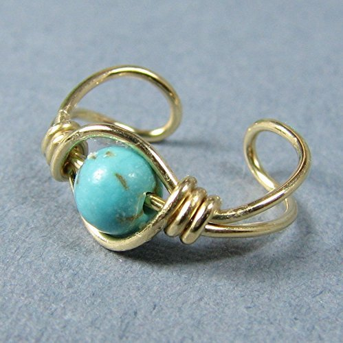 Turquoise dyed magnesite 14k Gold Filled ear cuff 4mm bead