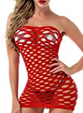 Vorifun Sexy Womens Strapless Chemise Sleepwear Lingerie Nighties Mini Dress Skirts for Women One Size (Red)